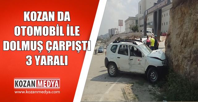 Kozan da Otomobil İle Dolmuş Çarpıştı 3 Yaralı