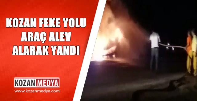 Kozan Suluhan Mevkii Seyir Halindeki Otomobil Alev Alev yandı